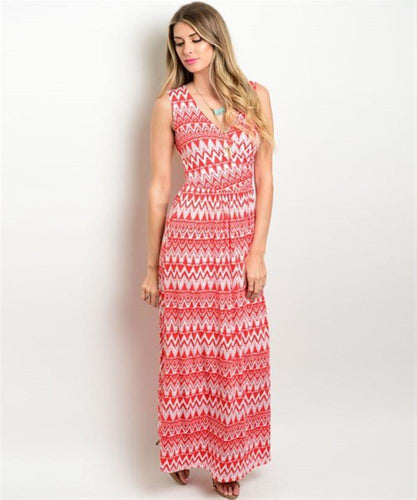 Women's Long Red Printed Sleeveless Maxi Dress