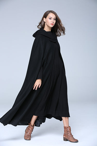 Cashmere Wool Hooded Cloak - Black, Red, or Gray Maxi Cape