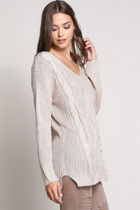 Criss Crossed Strapped Back Cable Knit Sweater
