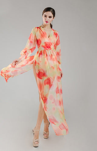 Stunning Long Orange Floral Chiffon Maxi Dress