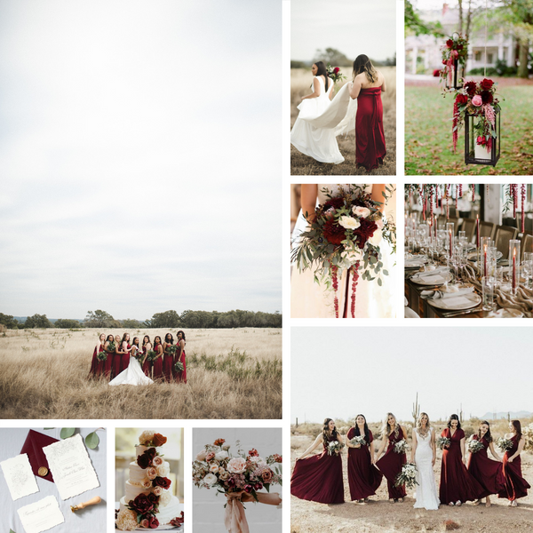 twobirds burgundy ballgown collage for fall inspiration