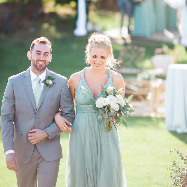Twobirds bridesmaid in Sage Tulle Ballgowns