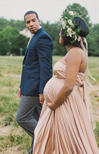 Maternity shoot in twobirds bridesmaid dress