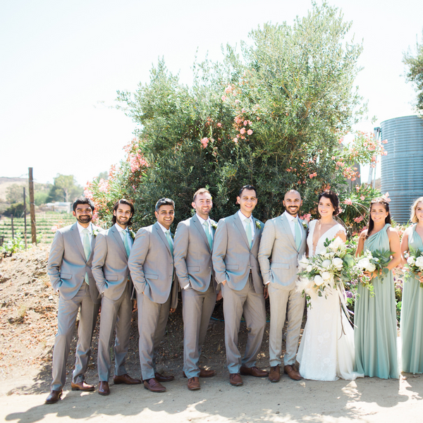 twobirds sage ties on groomsmen