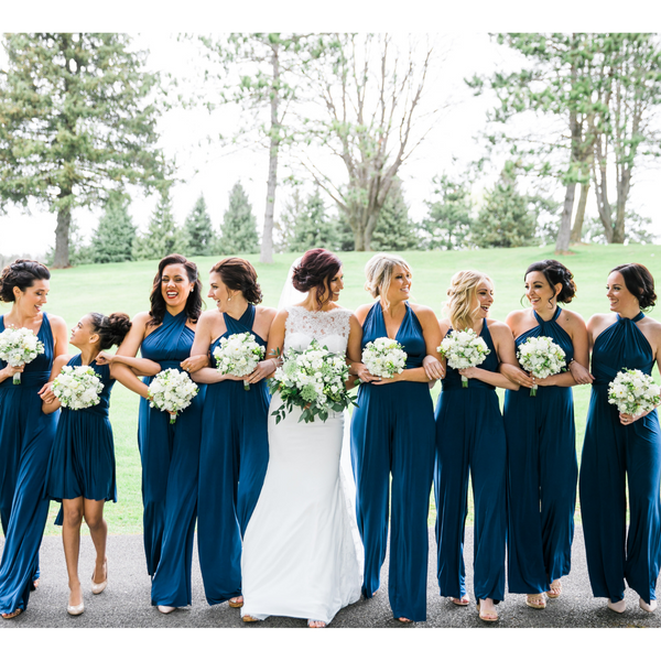 twobirds bridal party in convertible jumpsuits