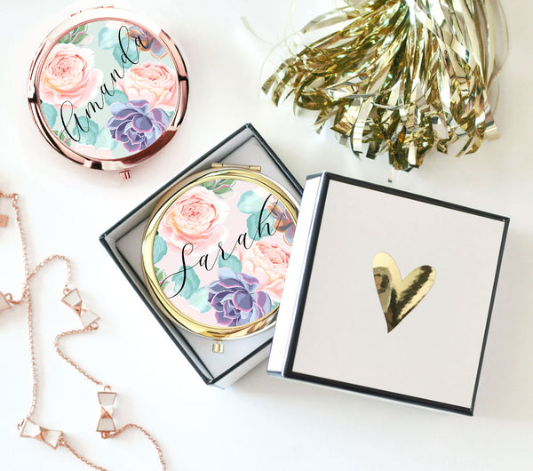 Custom compact mirrors from The Lucky Maiden
