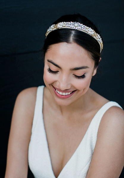 Bride wearing glitz headband