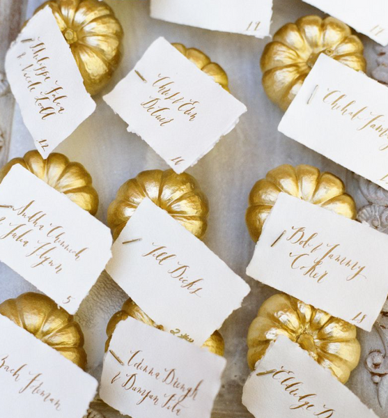 metallic pumpkin escort cards