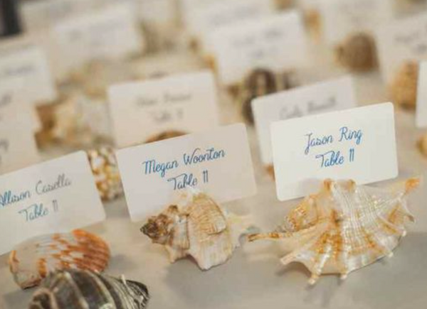 sea shell wedding escort cards