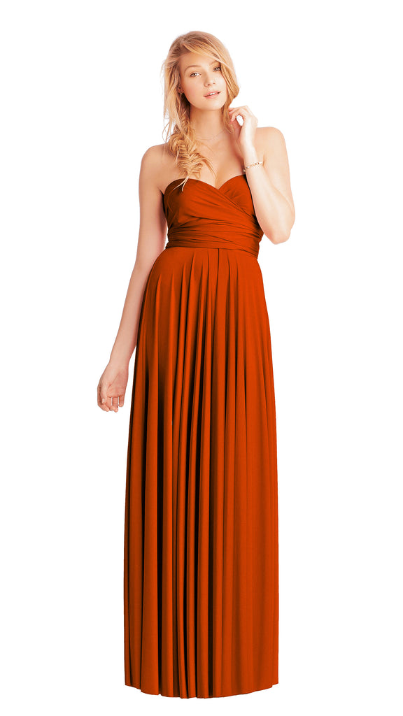 twobirds bridesmaid strapless ballgown in color rust