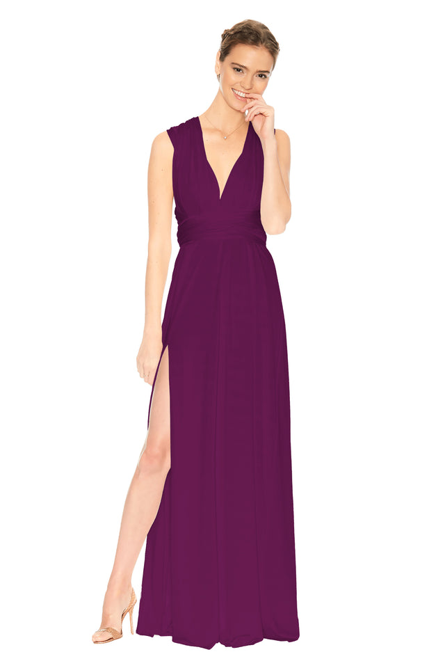 Slit Dress Aubergine