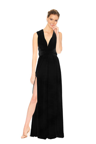 Black Velvet Slit Dress