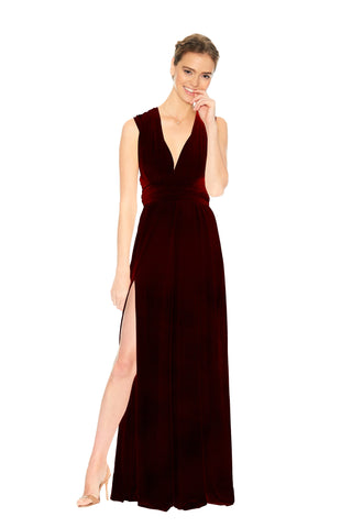 Burgundy Velvet Slit Dress
