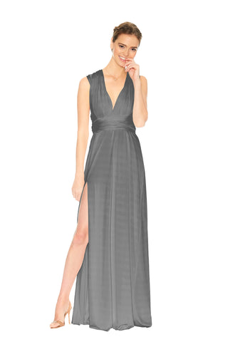 Smokey Grey Velvet Slit Dress