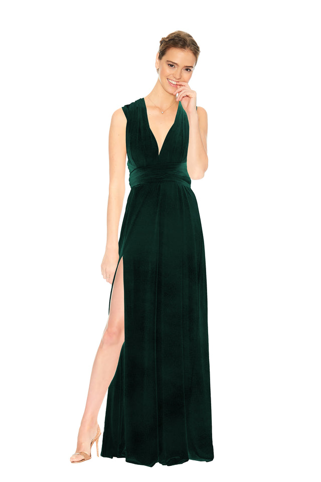 Forest Green Velvet Slit Dress
