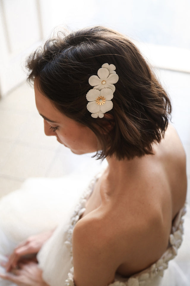 Ryan Leather Flower Barrette