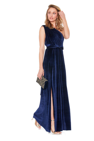 Midnight Velvet Slit Dress