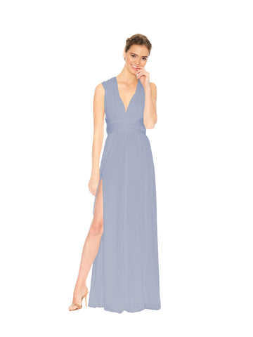 dusty blue convertible slit dress