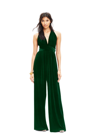 Forest Green Velvet Jumpsuit