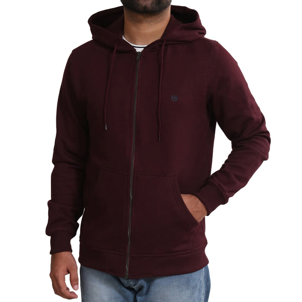 Sportking Men's Wine Solid Hooded Sweatshirt