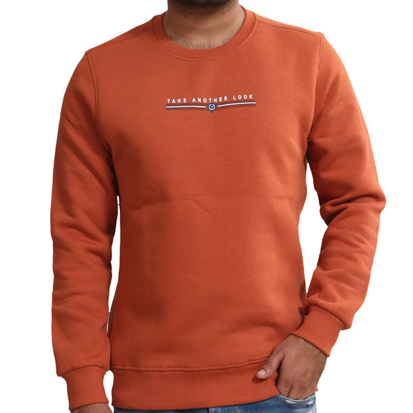 Sportking Men's Solid Orange Graphic Print Sweatshirt