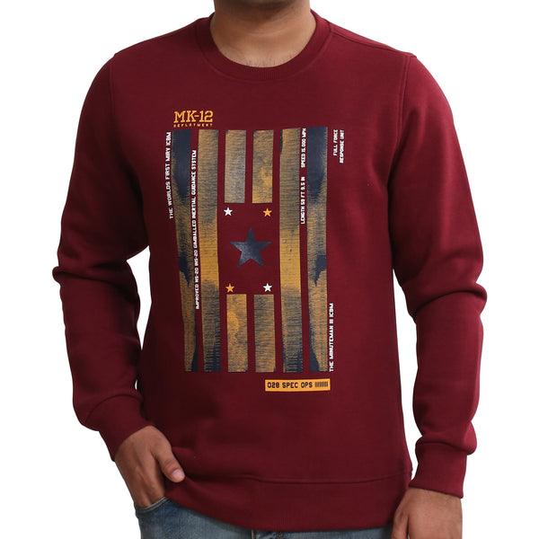 Sportking Men's Wine Graphic Print Sweatshirt