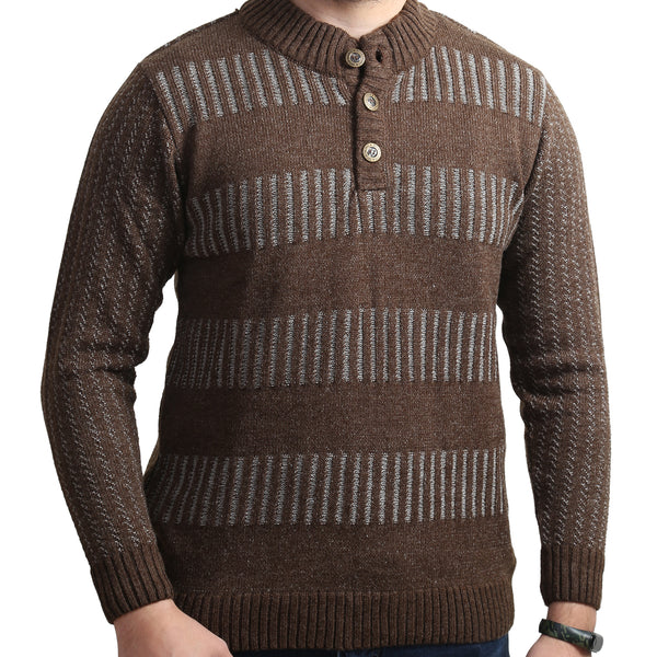 Sportking Men's Brown Striped Sweater