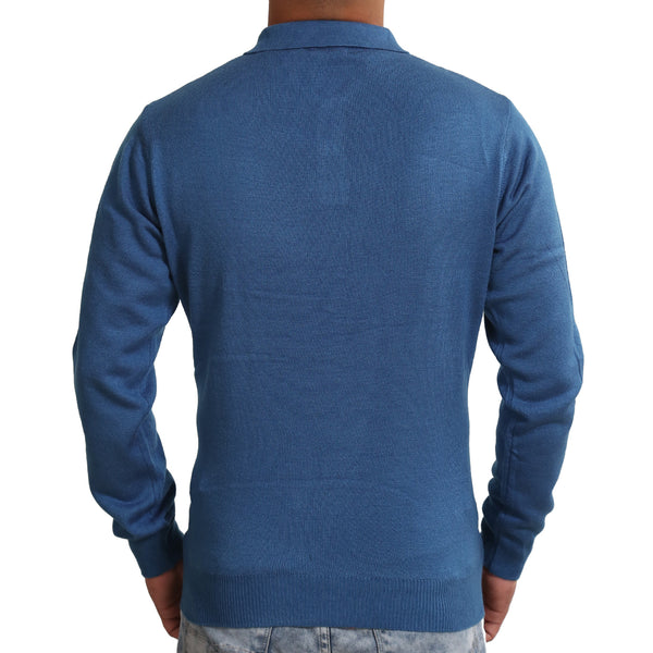 Sportking Men's Blue Solid Sweater