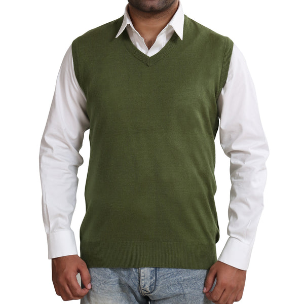 Sportking Men's Olive Solid Sweater
