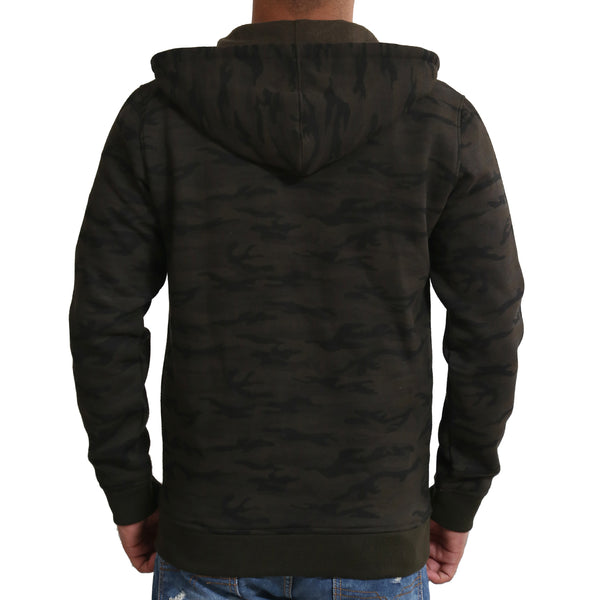 Sportking Men's Olive Camouflage Print Hooded Sweatshirt
