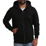 Sportking Men's Black Solid Hooded Sweatshirt