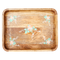 Wooden Tray with Handpainted Flowers - Pink