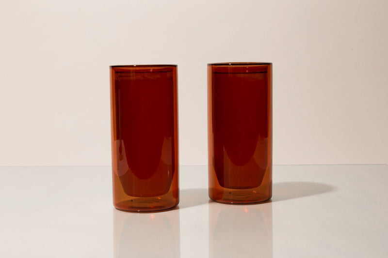 Double-Wall Amber Glass Set