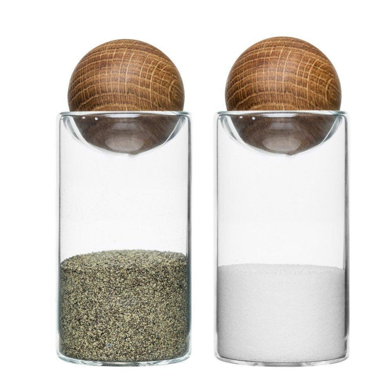 Oak and Glass Salt and Pepper Shakers