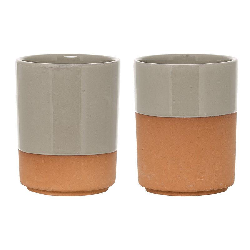 Cup, Grey, Terracotta - 2 pack