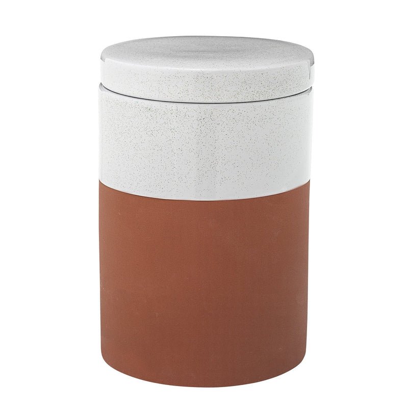 Evelyse Jar w/Lid, White, Terracotta