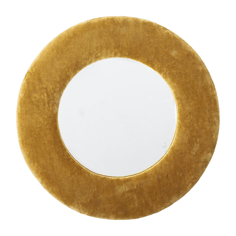 Yellow Velvet Round Mirror