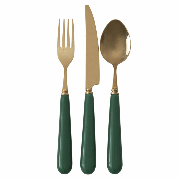 Cutlery in Brass Look with Ceramic Handle - Dark Green