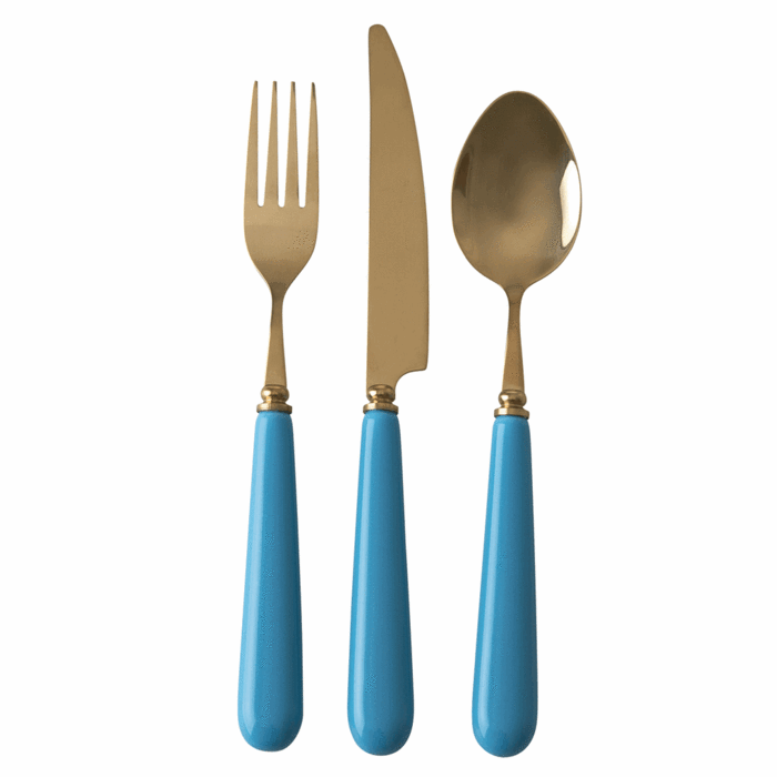 Cutlery in Brass Look with Ceramic Handle - Blue