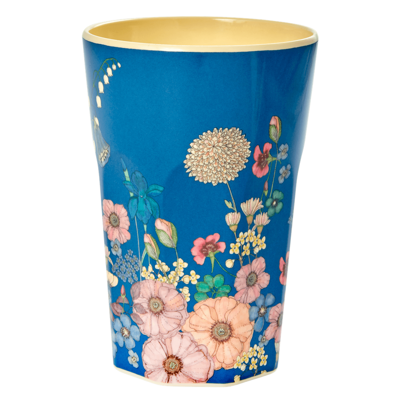 Melamine Cups with Pink Watercolor Splash and Flower Collage Print - Tall - 2 pcs.