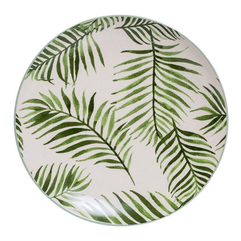 Round Jade Plate With Fern - Set of 3