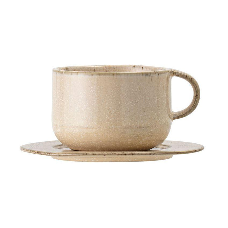 Boho Beige Speckled Cup With Saucer