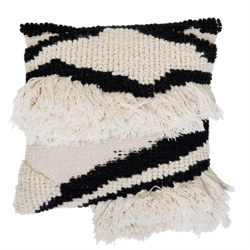 White and Black Wool Blend Textured Pillow