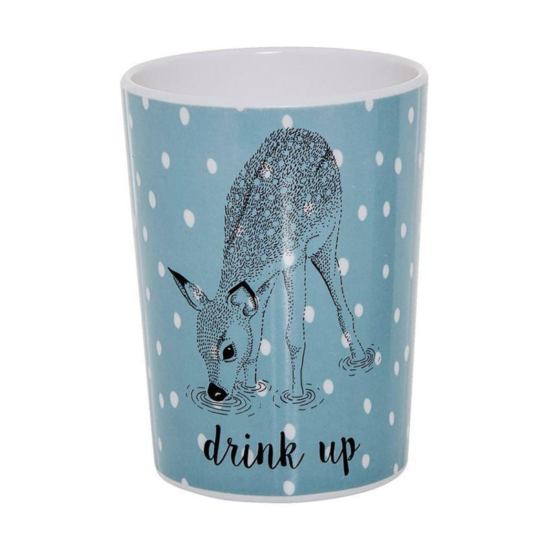 Blue & White Melamine Cup with Deer