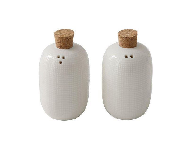 Embossed Ceramic Salt & Pepper Shakers w/ Cork Stoppers