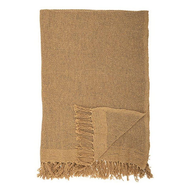 Woven Throw w/ Fringe, Mustard Color