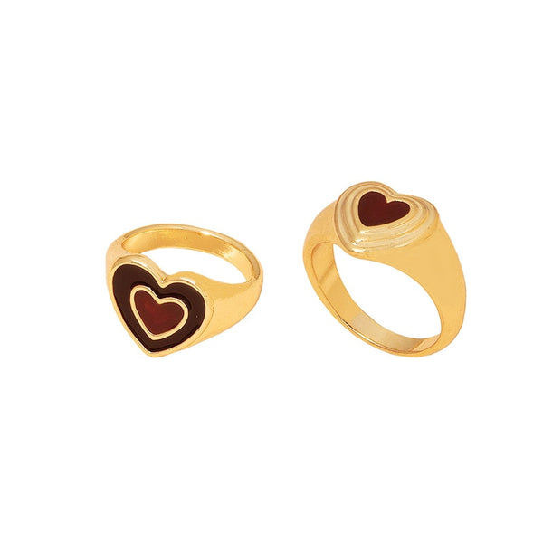 ANEL HEART BROWN - SIGNET RING