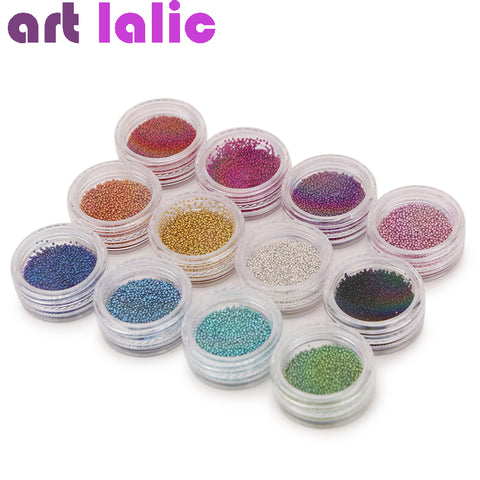 12 Colors Micro Ball Crystal Nail Caviar Beads for Nail Art Supplies Decoration 3 D Metal Glitter DIY