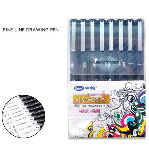 8 pcs Fine line drawing pen set Water proof pigment ink Liner marker pens for comic Art design Stationery school supplies A6984