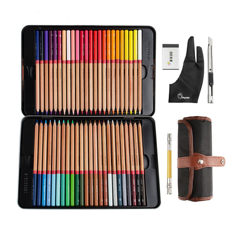 Marco Renoir 3100-48CN Colored Oil Colors Professional Pencils For Art Drawing Painting + Roller Pencil Bag